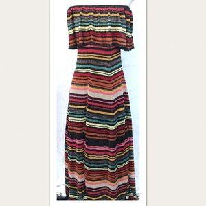 Zara Knit Strapless Colorful Maxi Dress